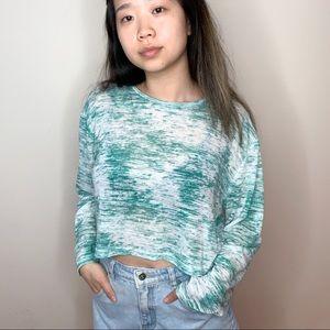 Tops - green/white heathered long sleeve sweater
